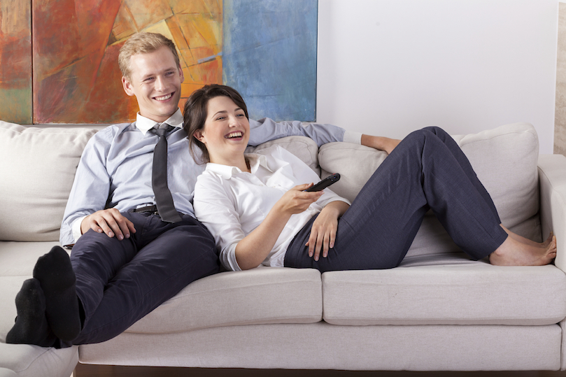 Comfortable couple on couch